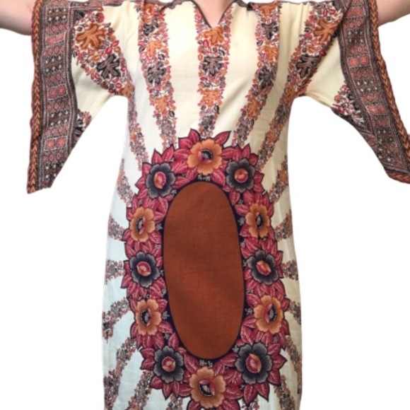 Vintage plus size boho dress with batwing sleeves